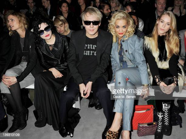 Nick Rhodes Rita Ora and Mary Charteris sit in the front row at the Vivienne Westwood Red Label Autumn/Winter 2012 show during London Fashion Week at...