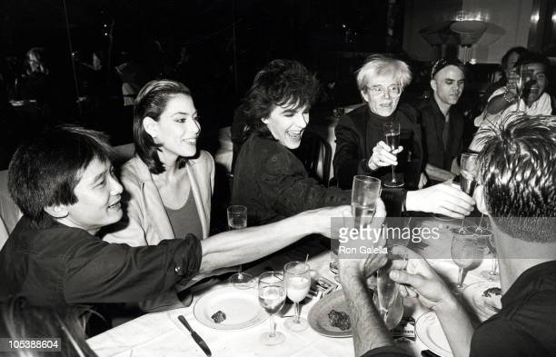 Nick Rhodes wife and Andy Warhol during Andy Warhol's 58th Birthday Party at Mr Chow's Restaurant in New York City New York United States