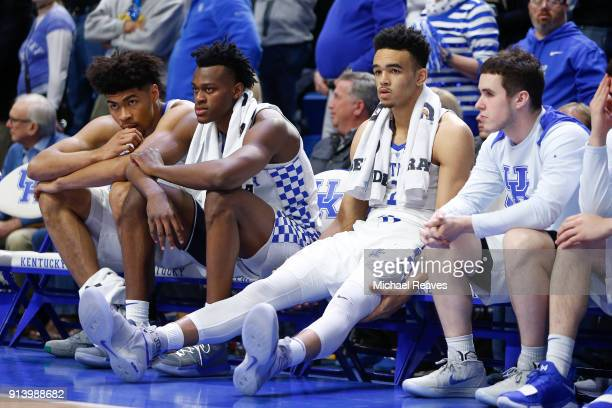 Nick Richards Jarred Vanderbilt Sacha KilleyaJones and Brad Calipari of the Kentucky Wildcats look on against the Vanderbilt Commodores during the...