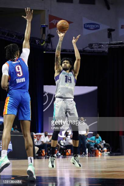 Nick Richards of the Greensboro Swarm shoots the ball against the Oklahoma City Blue on February 24, 2021 at HP Field House in Orlando, Florida. NOTE...