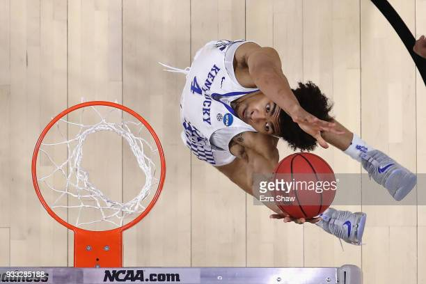 Nick Richards of the Kentucky Wildcats drives to the basket against the Buffalo Bulls in the second round of the 2018 NCAA Men's Basketball...