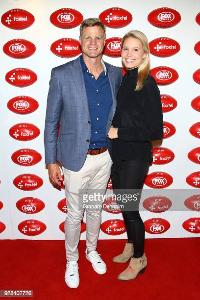 Nick Riewoldt and Catherine Riewoldt pose during the 2018 FOX FOOTY AFL Season Launch on March 7 2018 in Melbourne Australia