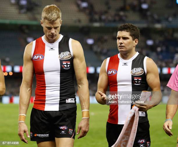 Nick Riewoldt and Leigh Montagna of the Saints look dejected after a loss during the 2017 AFL round 05 match between the St Kilda Saints and the...
