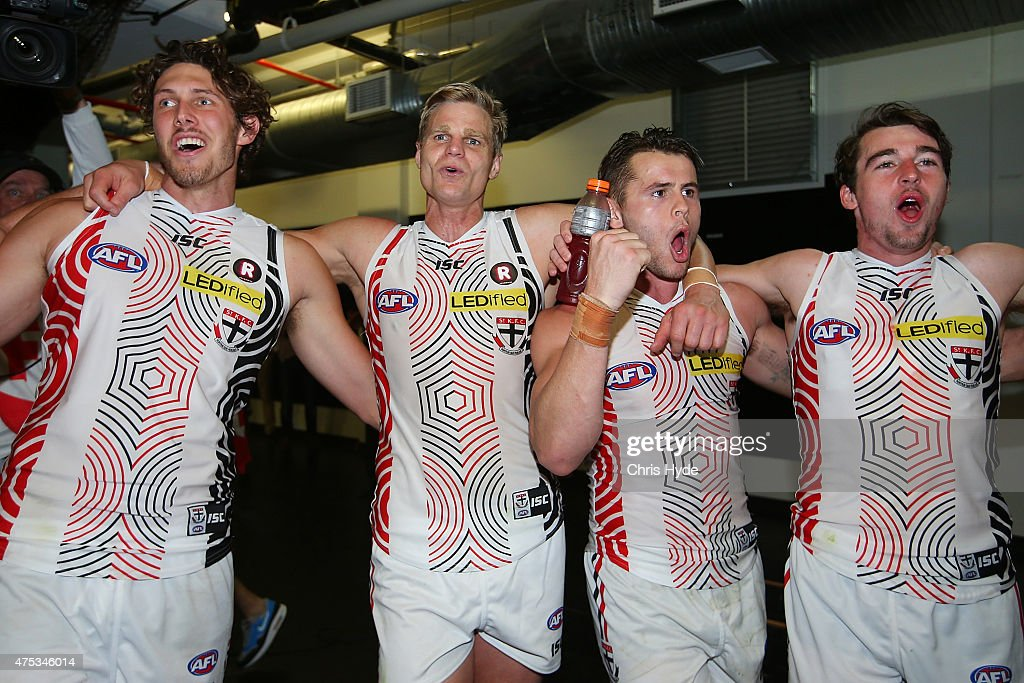 Nick Riewoldt and the Saints sing the team song after winning the round nine AFL match between the Brisbane Lions and the St Kilda Saints at The Gabba on May 31, 2015 in Brisbane, Australia.
