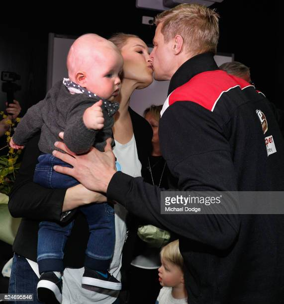 Nick Riewoldt kisses wife Catherine after announcing his retirement during a St Kilda Saints AFL press conference at Linen House Oval on July 31 2017...