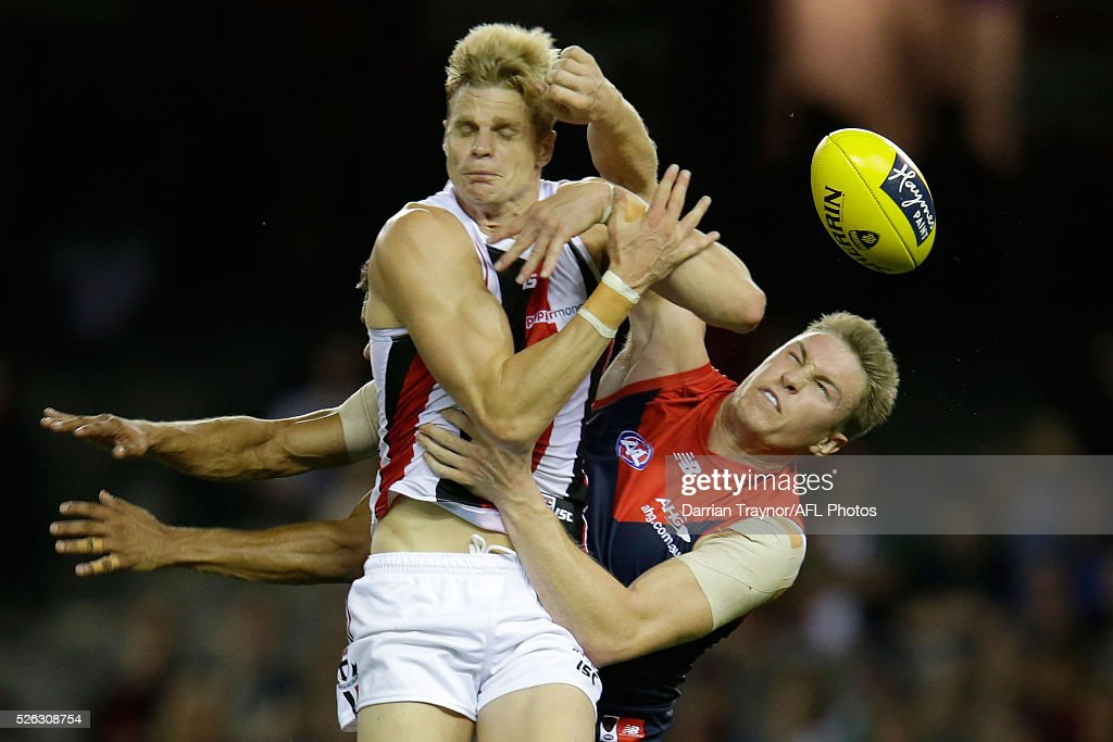 Nick Riewoldt of the Saints and Tom McDonald of the Demons compete for the ball during the round six AFL match between the Melbourne Demons and the St Kilda Saints at Etihad Stadium on April 30, 2016 in Melbourne, Australia.