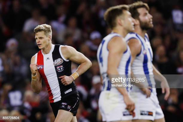 Nick Riewoldt of the Saints celebrates a goal during the round 22 AFL match between the St Kilda Saints and the North Melbourne Kangaroos at Etihad...