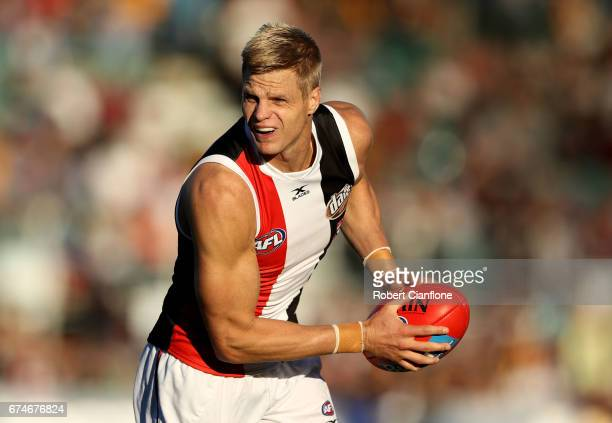 Nick Riewoldt of the Saints controls the ball during the round six AFL match between the Hawthorn Hawks and the St Kilda Saints at University of...