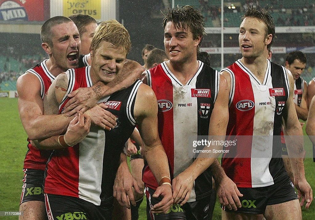 Nick Riewoldt of the Saints is congratulated by team mates after winning the round 11 AFL match between the Sydney Swans and the St Kilda Saints at the Sydney Cricket Ground June 10, 2006 in Sydney, Australia.