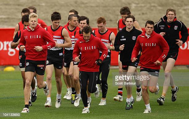 Nick Riewoldt of the Saints leads his team mates during a training exercise during a St Kilda Saints AFL training session at Linen House Oval on...