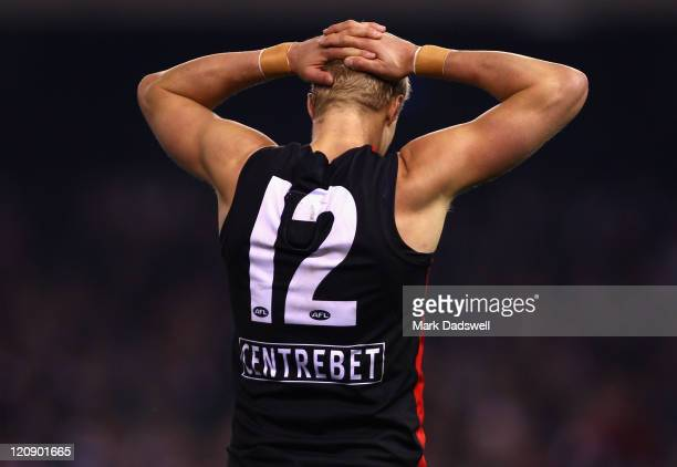 Nick Riewoldt of the Saints looks dejected after a missed opportunity during the round 21 AFL match between the St Kilda Saints and the Collingwood...