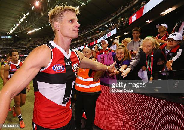 Nick Riewoldt of the Saints looks dejected after losing his 300th match during the match between the StKilda Saints and the Western Bulldogs at...