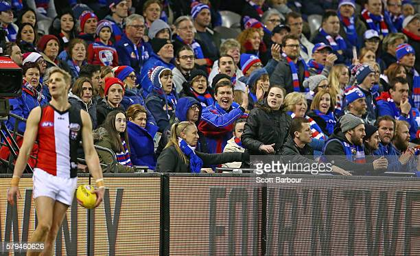 Nick Riewoldt of the Saints reacts shortly after being touched by a member of the crowd during the round 18 AFL match between the Western Bulldogs...