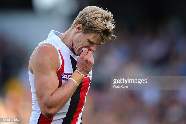 Nick Riewoldt of the Saints removes his mouthguard during the round eight AFL match between the West Coast Eagles and the St Kilda Saints at Domain...