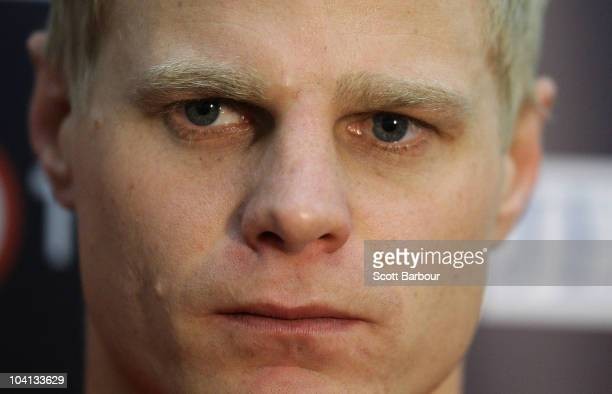 Nick Riewoldt of the Saints speaks to the media during a St Kilda Saints AFL training session at Linen House Oval on September 16 2010 in Melbourne...