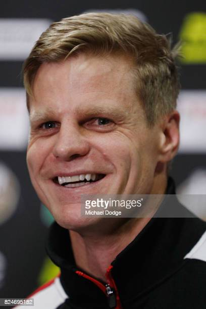 Nick Riewoldt reacts as he speaks to media after announcing his retirement during a St Kilda Saints AFL press conference at Linen House Oval on July...