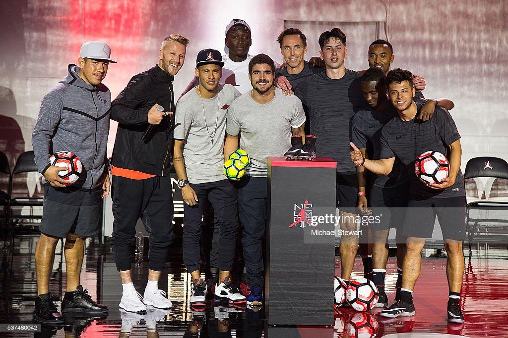 Nick Rimando, a host, Neymar da Silva Santos Junior, a host, Victor Oladipo, Steve Nash and participants attend the Neymar Jr. + Michael Jordan Collection Celebration at Terminal 23 on June 1, 2016 in New York City.