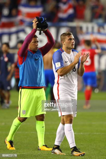 Nick Rimando and Jordan Morris of the United States acknowledge the crowd after the game against Costa Rica during the FIFA 2018 World Cup Qualifier...