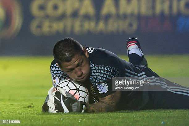 Nick Rimando goalkeeper of Real Salt Lake holds the ball during a quarterfinals first leg match between Tigres UANL and Real Salt Lake as part of...