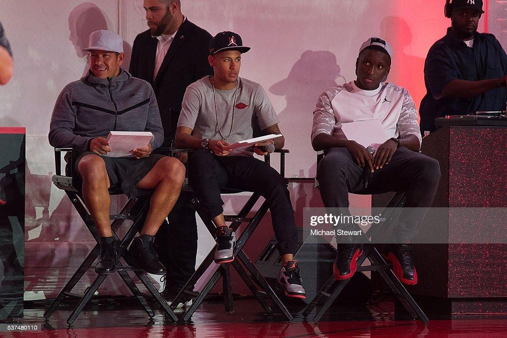 Nick Rimando, Neymar da Silva Santos Junior and Victor Oladipo attend the Neymar Jr. + Michael Jordan Collection Celebration at Terminal 23 on June 1, 2016 in New York City.