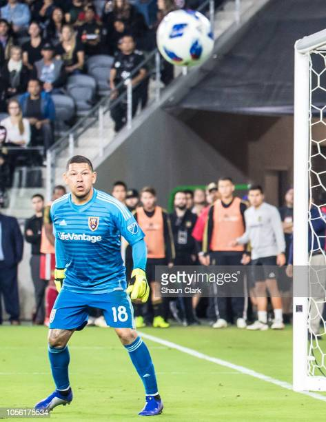 Nick Rimando of Real Salt Lake during Los Angeles FC's MLS Western Conference Knockout match against Real Salt Lake at the Banc of California Stadium...