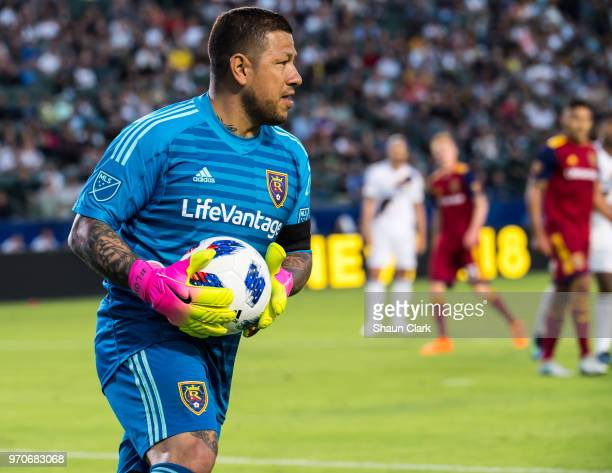 Nick Rimando of Real Salt Lake during the Los Angeles Galaxy's MLS match against FC Dallas at the StubHub Center on June 9 2018 in Carson California...