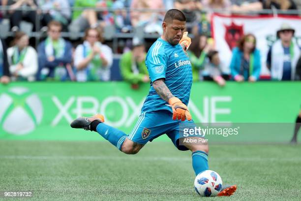Nick Rimando of Real Salt Lake kicks the ball in the second half against the Seattle Sounders during their game at CenturyLink Field on May 26 2018...