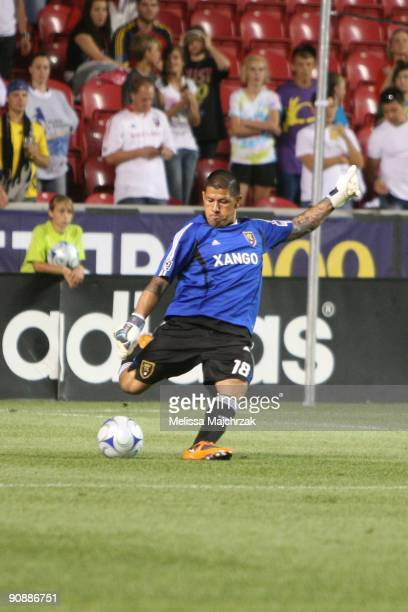 Nick Rimando of Real Salt Lake kicks the ball out against the Chicago Fire at Rio Tinto Stadium on September 12 2009 in Sandy Utah