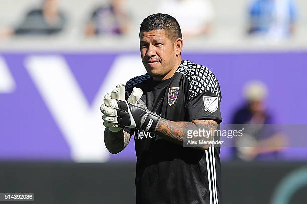 Nick Rimando of Real Salt Lake looks on during a MLS soccer match against Orlando City SC at the Orlando Citrus Bowl on March 6 2016 in Orlando...