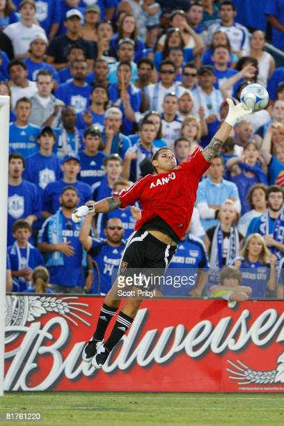 Nick Rimando of Real Salt Lake makes a save with his fingertips against the Kansas City Wizards on June 28 2008 at CommunityAmerica Ballpark in...