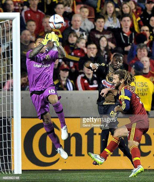 Nick Rimando of Real Salt Lake makes this second half save against the Philadelphia Union at Rio Tinto Stadium on March 14 2015 in Sandy Utah The...