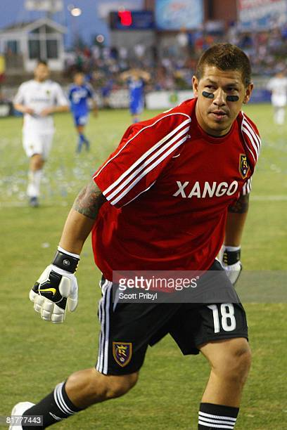 Nick Rimando of Real Salt Lake stares down the Kansas City Wizards during the game at Community America Ballpark on June 28 2008 in Kansas City Kansas