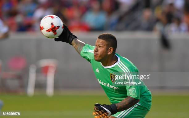 Nick Rimando of Real Salt Lake throws the ball in play during the first half against Manchester United in the International friendly game at Rio...