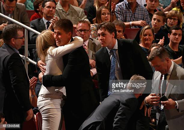 Nick Ritchie celebrates with his family after being selected tenth overall by the Anaheim Ducks during the 2014 NHL Entry Draft at Wells Fargo Center...