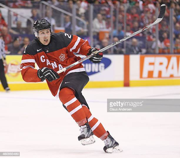 Nick Ritchie of Team Canada skates against Team Denmark during a quarterfinal game in the 2015 IIHF World Junior Hockey Championships at the Air...