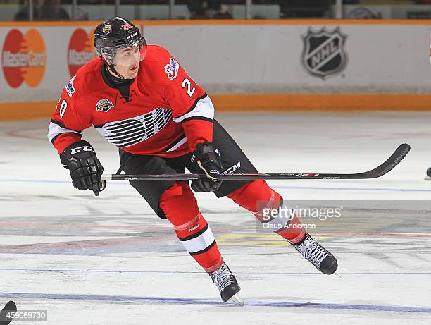 Nick Ritchie of Team OHL skates against Team Russia during the 2014 Subway Super Series at the Peterborough Memorial Centre on November 13 2014 in...