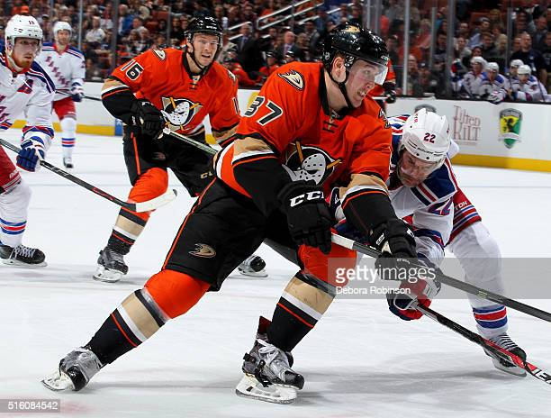 Nick Ritchie of the Anaheim Ducks battles for position against Dan Boyle of the New York Rangers on March 16 2016 at Honda Center in Anaheim...