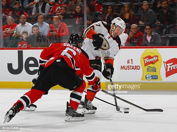 Nick Ritchie of the Anaheim Ducks breaks his stick while shooting against the New Jersey Devils during the first period at the Prudential Center on...