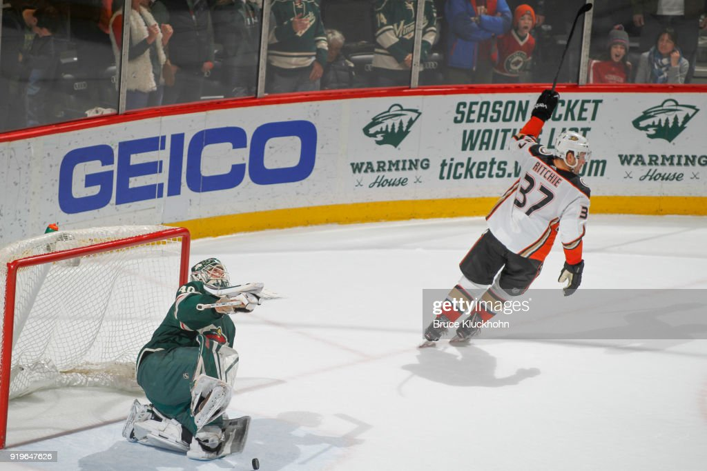 Nick Ritchie #37 of the Anaheim Ducks celebrates after scoring a goal in the overtime shootout against Devan Dubnyk #40 of the Minnesota Wild during the game at the Xcel Energy Center on February 17, 2018 in St. Paul, Minnesota.