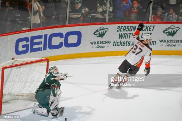 Nick Ritchie of the Anaheim Ducks celebrates after scoring a goal in the overtime shootout against Devan Dubnyk of the Minnesota Wild during the game...