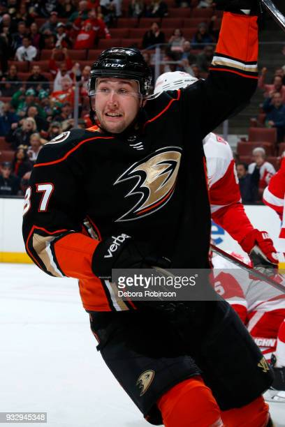 Nick Ritchie of the Anaheim Ducks celebrates his first period goal during the game against the Detroit Red Wings on March 16 2018 at Honda Center in...