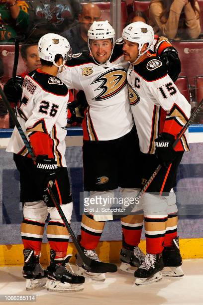 Nick Ritchie of the Anaheim Ducks celebrates his game winning goal with teammates Brandon Montour and Ryan Getzlaf against the Florida Panthers at...