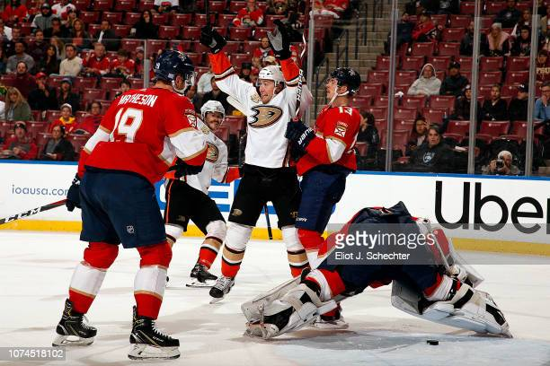 Nick Ritchie of the Anaheim Ducks celebrates his goal with teammates during the second period against the Florida Panthers at the BBT Center on...