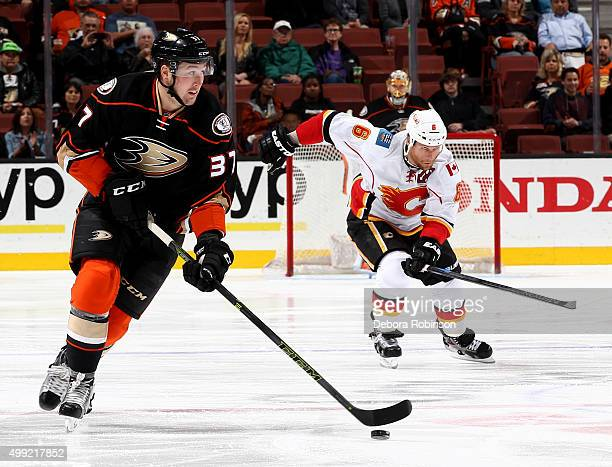 Nick Ritchie of the Anaheim Ducks handles the puck during the game against the Calgary Flames on November 24 2015 at Honda Center in Anaheim...