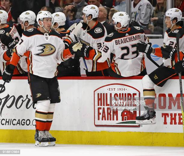Nick Ritchie of the Anaheim Ducks is congratulated by teammates after scoring a second period goal against the Chicago Blackhawks at the United...