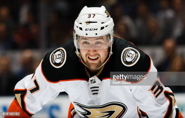 Nick Ritchie of the Anaheim Ducks looks on against the Toronto Maple Leafs during the first period at the Air Canada Centre on February 5 2018 in...