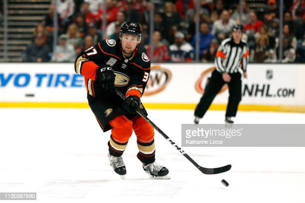 Nick Ritchie of the Anaheim Ducks looks to pass during the first period against the Washington Capitals at Honda Center on February 17 2019 in...