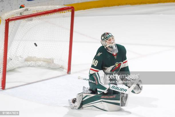 Nick Ritchie of the Anaheim Ducks scores a goal in the overtime shootout against Devan Dubnyk of the Minnesota Wild during the game at the Xcel...