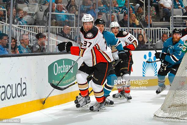 Nick Ritchie of the Anaheim Ducks skates after the puck against the San Jose Sharks at SAP Center on September 26 2015 in San Jose California