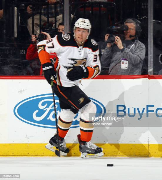 Nick Ritchie of the Anaheim Ducks skates against the New Jersey Devils at the Prudential Center on December 18 2017 in Newark New Jersey The Devils...